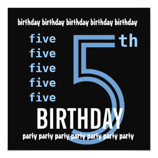 5th Birthday Party Modern Blue and Black W689F 13 Cm X 13 Cm Square Invitation Card