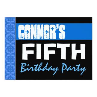 5th Birthday Party Modern Bright Blue Stars B05 Card