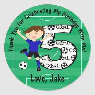 5th Birthday Thank You Blue and Black Soccer Classic Round Sticker