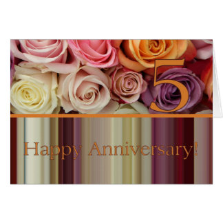 5th Wedding Anniversary Card - Pastel roses stripe