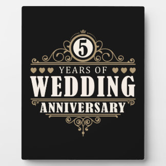 5th Wedding Anniversary Plaque