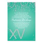 5x7 Aqua Diamond Quinceanera Birthday Invitation 13 Cm X 18 Cm Invitation Card