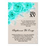 5x7 Aqua Roses Quinceanera Birthday Invitation 13 Cm X 18 Cm Invitation Card