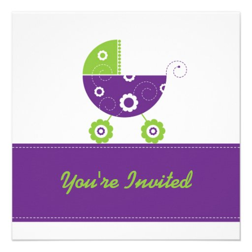 5x7 Dark Purple Buggie Baby Shower Personalized Announcements