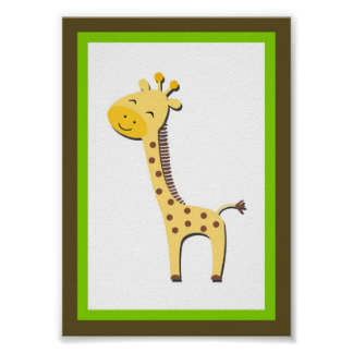 5X7 Giraffe Jungle Animal Wall Art Poster
