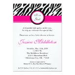 "5x7 Hot Pink Zebra Print Baby Shower Invitation 5"" X 7"" Invitation Card"