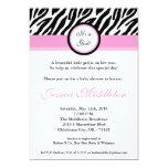 5x7 Light Pink Zebra Print Baby Shower Invitation