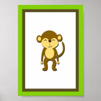 5X7 Monkey Jungle Animal Wall Art Poster