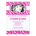 5x7 Pink Zebra PHOTO Sweet 16 Birthday Invitation