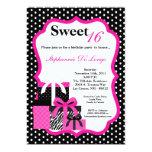 5x7 Pink Zebra Presents Birthday Party Invitation