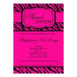 5x7 Pink Zebra Print Birthday Party Invitation