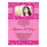 5x7 Pink Zebra Print Patter Quinceanera Invitation