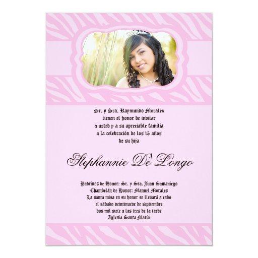 5x7 Pink Zebra Print Patter Quinceanera Invitation 13 Cm X 18 Cm Invitation Card