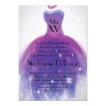5x7 Purple Dress Quinceanera Birthday Invitation