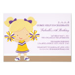 "5x7 Purple/Gold Cheerleader Birthday Party Invite 5"" X 7"" Invitation Card"