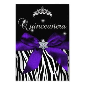 5x7 Quinceanera Purple Zebra Black White 9 Cm X 13 Cm Invitation Card