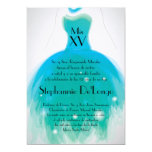 5x7 Teal Dress Quinceanera Birthday Invitation