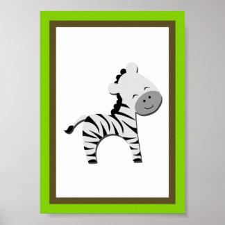 5X7 Zebra Jungle Animal Wall Art Poster