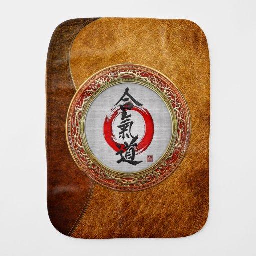 [600] Japanese calligraphy - Aikido Baby Burp Cloth