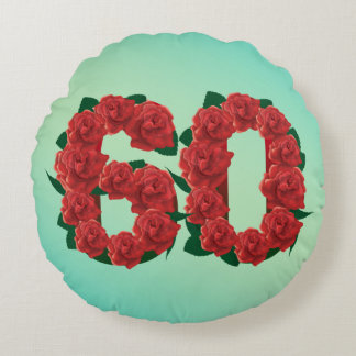 60 number birthday anniversary 60th red rose text round cushion