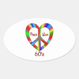 60s Peace Love Oval Sticker