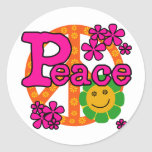 60s Style Peace Round Stickers