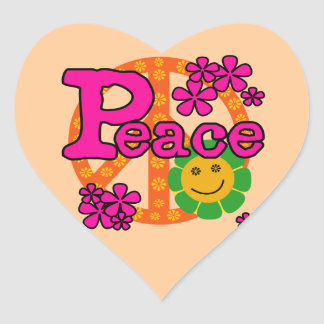 60s Style Peace T-shirts and Gifts Heart Sticker