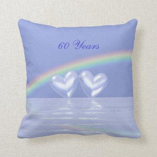 60th Anniversary Diamond Hearts Throw Pillow
