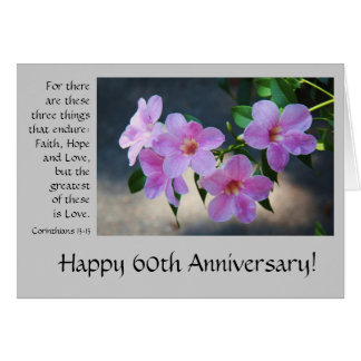 60th Anniversary, floral, bible verse about love Card