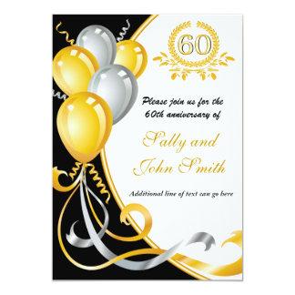 60th Anniversary Gold & Silver Birthday Invitation