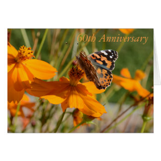 60th Anniversary Greeting Card Butterfly on Flower