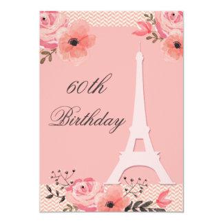 60th Birthday Chic Floral Paris Eiffel Tower 13 Cm X 18 Cm Invitation Card