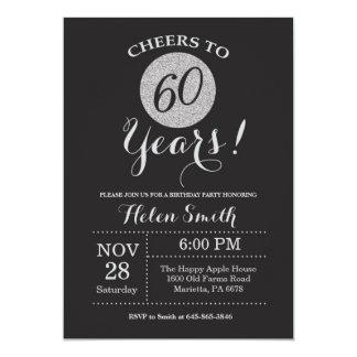 60th Birthday Invitation Black and Silver Glitter