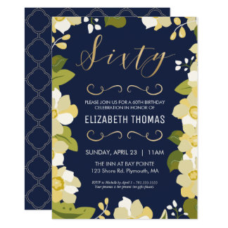 60th Birthday Invitation, Customize Flowers, Gold Card