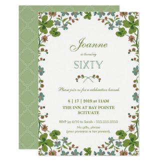60th Birthday Invitation, Sixtieth Vintage Style Card