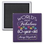 60th Birthday Most Fabulous Colourful Gems Purple Square Magnet