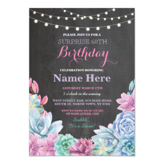 60th Birthday Party Chalkboard Floral Pink Invite