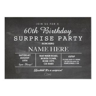 60TH BIRTHDAY PARTY CHALKBOARD SURPRISE INVITE