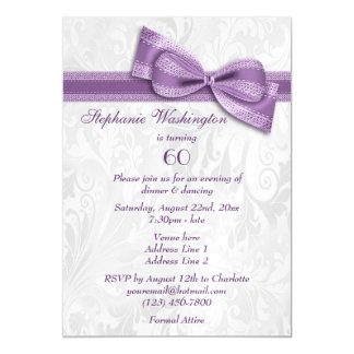 60th Birthday Party Damask and Faux Bow Magnetic Invitations