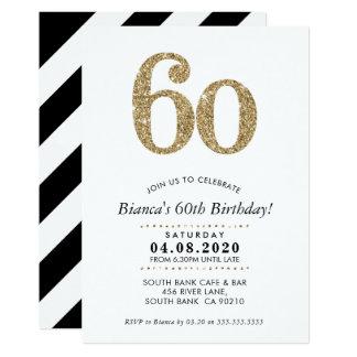 60TH BIRTHDAY PARTY INVITE modern gold glitter