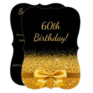 60th birthday party on black with gold bow sparkle card