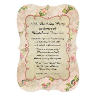 60th Birthday Party Scroll Frame w Vintage Roses Custom Invite