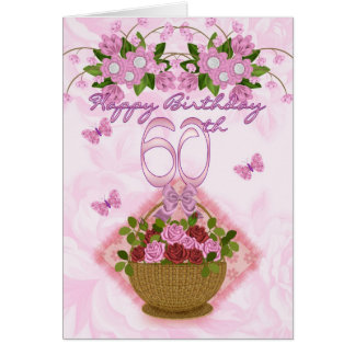 60th Birthday Special Lady, Roses And Flowers - 60 Greeting Card