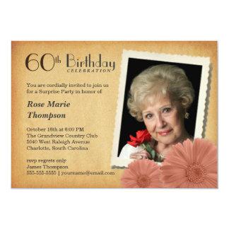 60th Birthday Vintage Daisy Photo Invitations