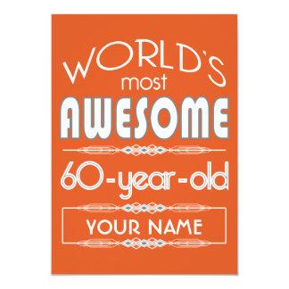 60th Birthday Worlds Best Fabulous Flame Orange 13 Cm X 18 Cm Invitation Card