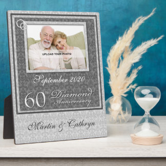 60th Diamond Anniversary   Silver Photo Plaque