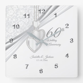 60th Diamond Wedding Anniversary Keepsake Square Wall Clock