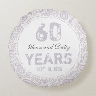 60th Diamond Wedding Anniversary Paisley Pattern Round Cushion