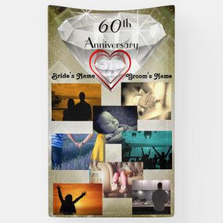 60th Diamond Wedding Personalized Photo Banner