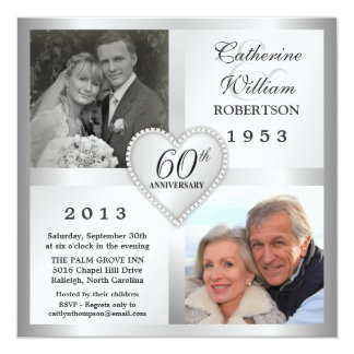 60th Silver Anniversary Heart Photo Invitations